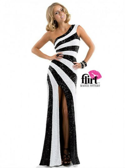 Evening dress Black White P4814