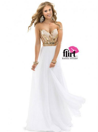 Evening dress Rose Gold White P4857