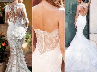 Vestuvinių suknelių tendencija, kuriai neįmanoma atsispirti: nėriniais išmarginta nugara.