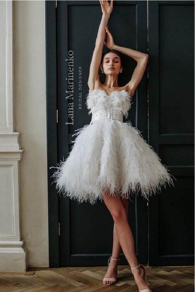 Feather vestuvinė suknelė