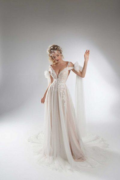 Gery vestuvinė suknelė